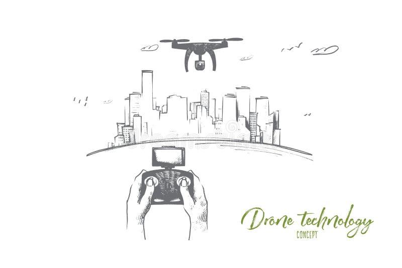 Concepto de la tecnología del abejón Vector aislado dibujado mano ilustración del vector