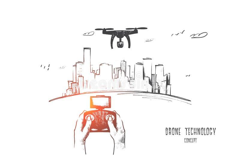 Concepto de la tecnología del abejón Vector aislado dibujado mano libre illustration