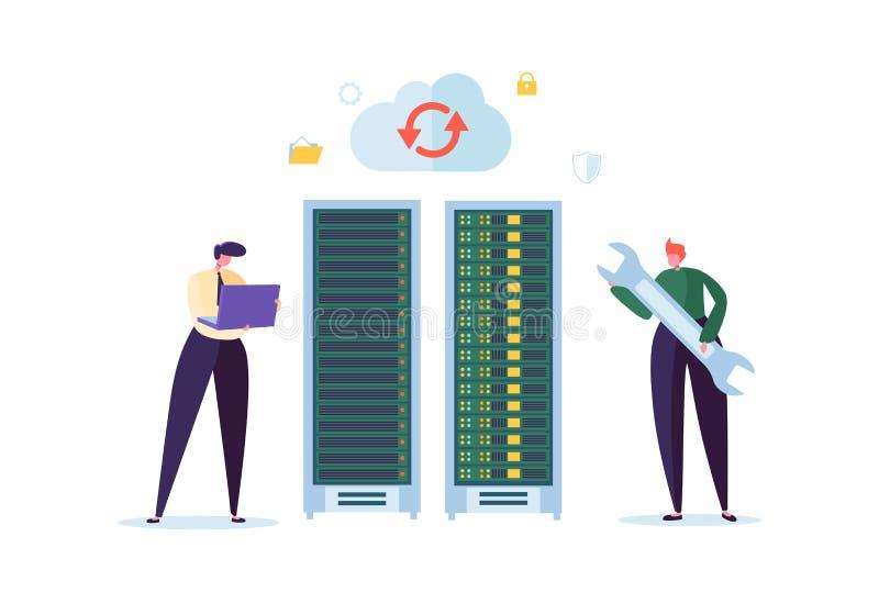 Concepto de la tecnología del centro de datos Ingenieros planos de los caracteres de la gente que trabajan en sitio de servidor d ilustración del vector
