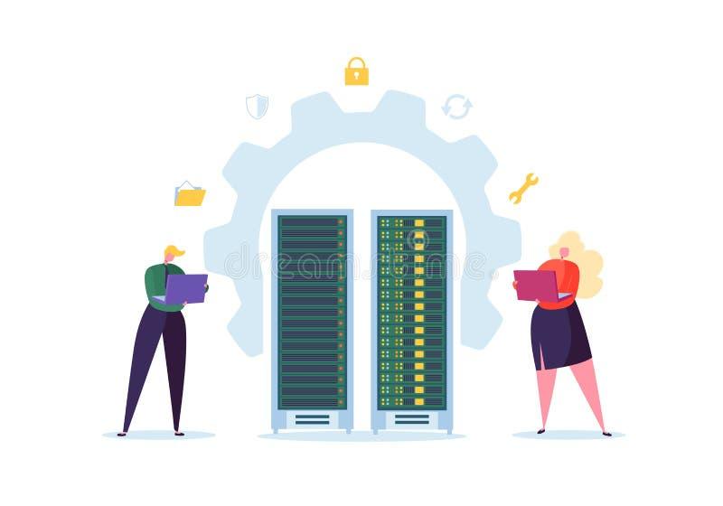 Concepto de la tecnología del centro de datos Ingenieros planos de los caracteres de la gente que trabajan en sitio de servidor d stock de ilustración