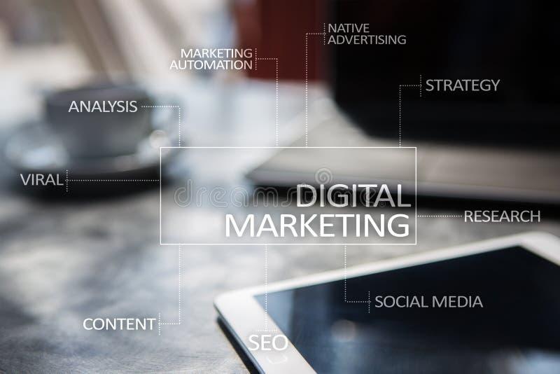 Concepto de la tecnología del márketing de Digitaces Internet En línea Optimización de buscadores SEO SMM publicidad imágenes de archivo libres de regalías
