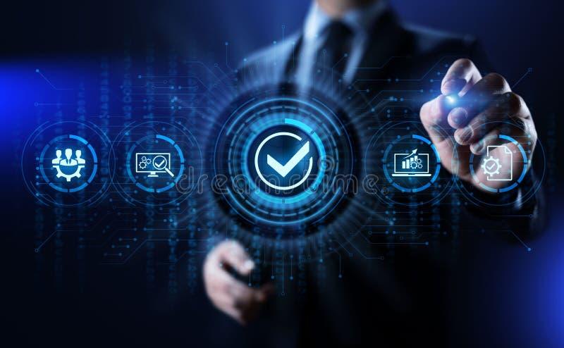Concepto de la tecnología del negocio del control de la garantía de las normas de calidad ISO fotografía de archivo libre de regalías