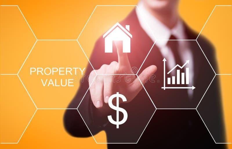 Concepto de la tecnología del negocio de Internet del mercado inmobiliario del valor de una propiedad fotos de archivo libres de regalías
