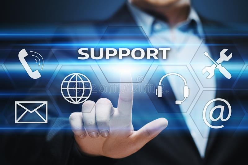 Concepto de la tecnología del negocio de Internet del servicio de atención al cliente del centro de soporte técnico imágenes de archivo libres de regalías