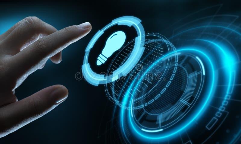 Concepto de la tecnología del negocio de la solución de la innovación de la bombilla stock de ilustración