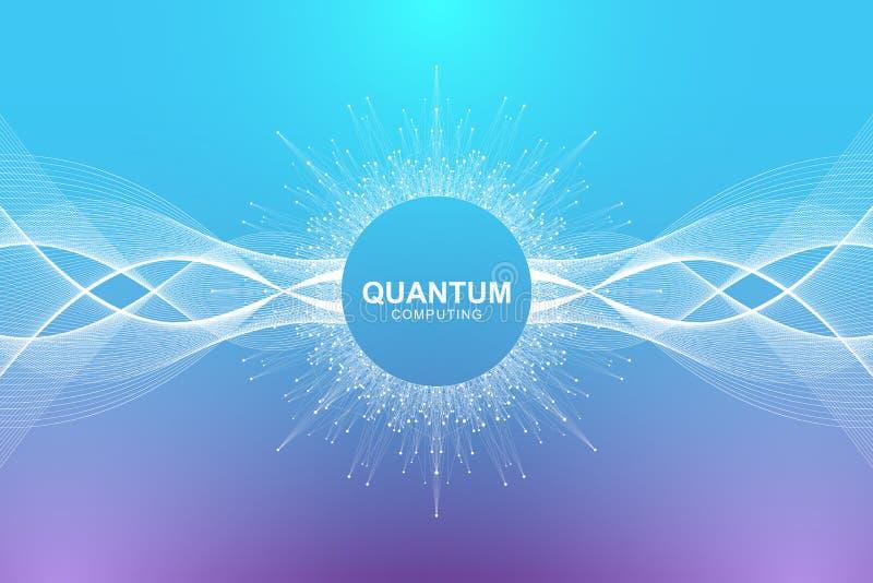 Concepto de la tecnología del ordenador cuántico Inteligencia artificial de aprendizaje profunda Visualización grande de los algo ilustración del vector
