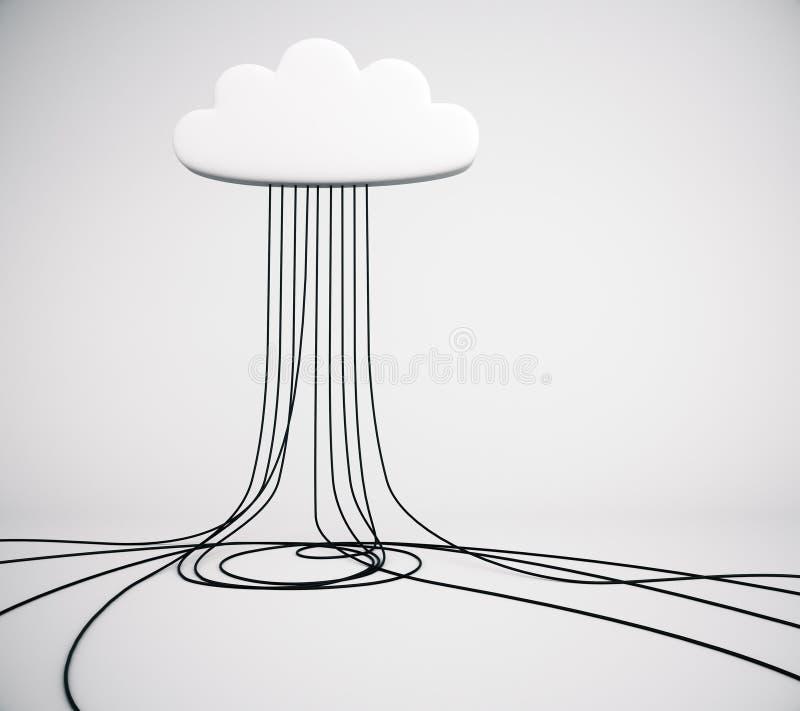 Concepto de la tecnología del servicio de la nube en sitio vacío ilustración del vector