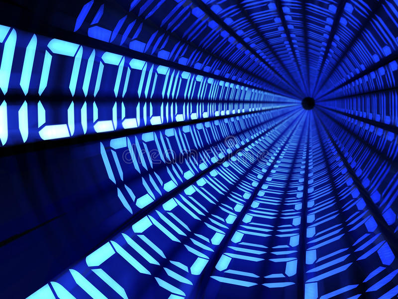 Concepto de la tecnología del túnel del código binario stock de ilustración