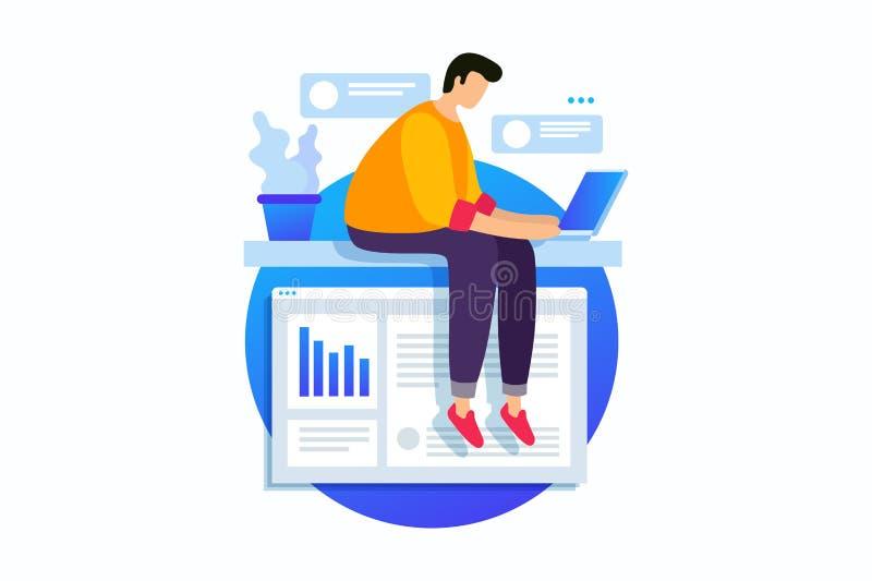 Concepto de la tecnología digital, trabajo con los gráficos de negocio, crecimiento de la carrera al éxito ilustración del vector