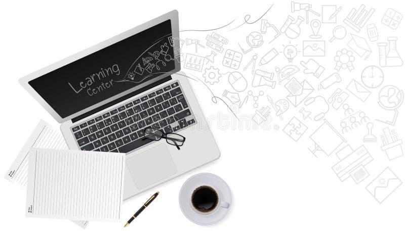 Concepto de la tecnología de la educación con el icono de la tecnología de comunicación en el ordenador portátil del ordenador Ve stock de ilustración