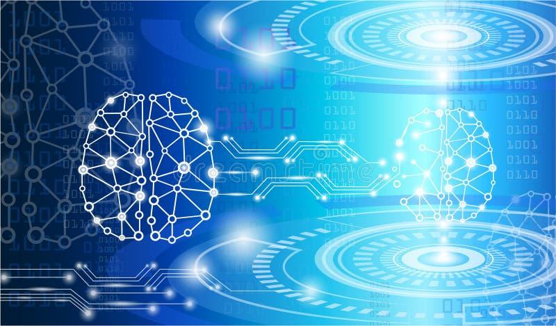Concepto de la tecnología, genio digital del cerebro ilustración del vector