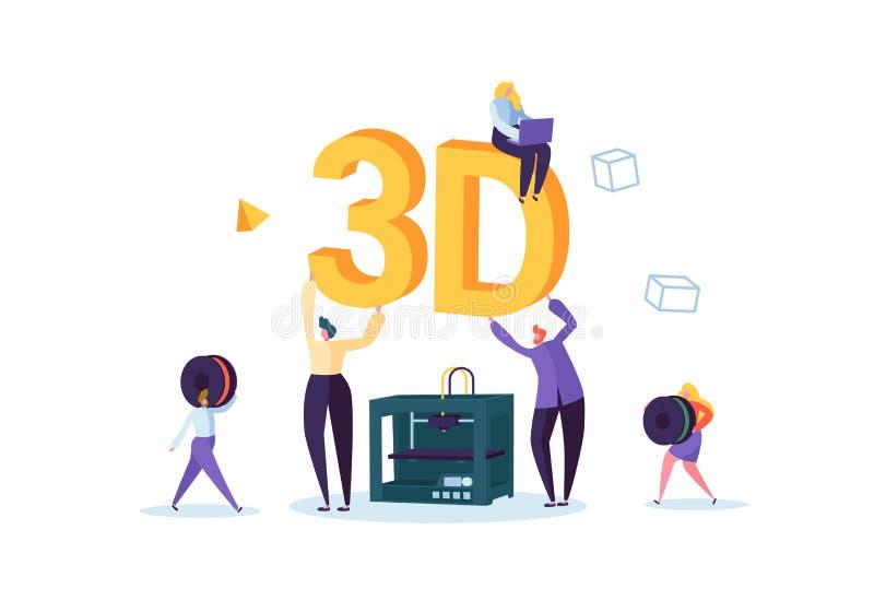 concepto de la tecnología de la impresión 3D 3D impresora Equipment con los caracteres y el ordenador planos de la gente Creación libre illustration
