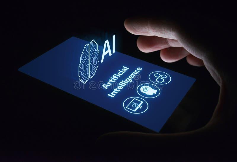Concepto de la tecnología de Internet del negocio del aprendizaje de máquina de la inteligencia artificial imagenes de archivo