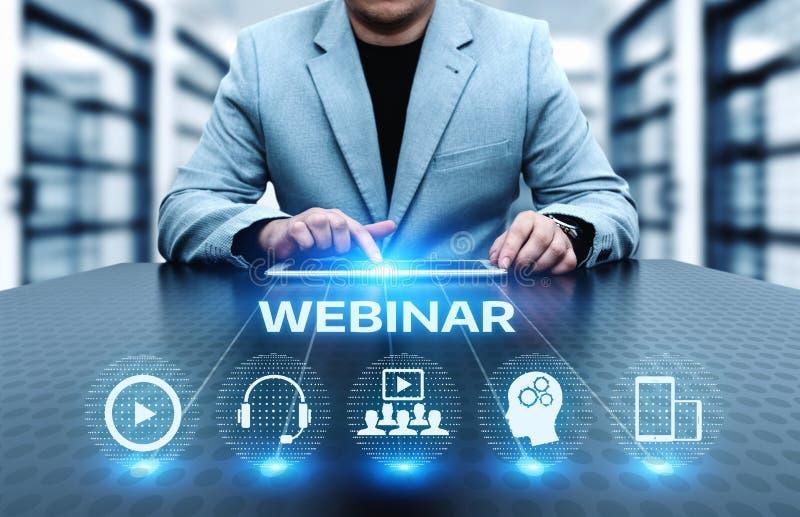 Concepto de la tecnología de Internet del negocio del entrenamiento del aprendizaje electrónico de Webinar fotografía de archivo