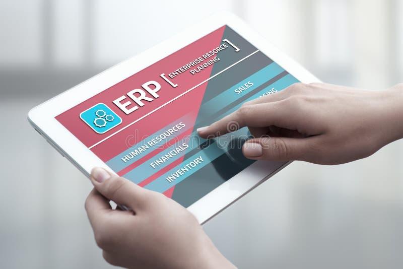 Concepto de la tecnología de Internet del negocio de la gestión de Enterprise Resource Planning ERP Corporate Company imagen de archivo libre de regalías