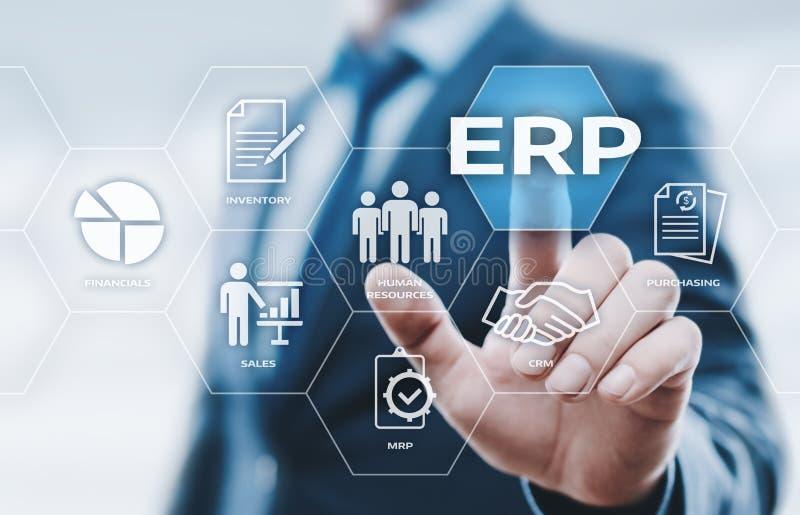 Concepto de la tecnología de Internet del negocio de la gestión de Enterprise Resource Planning ERP Corporate Company imágenes de archivo libres de regalías