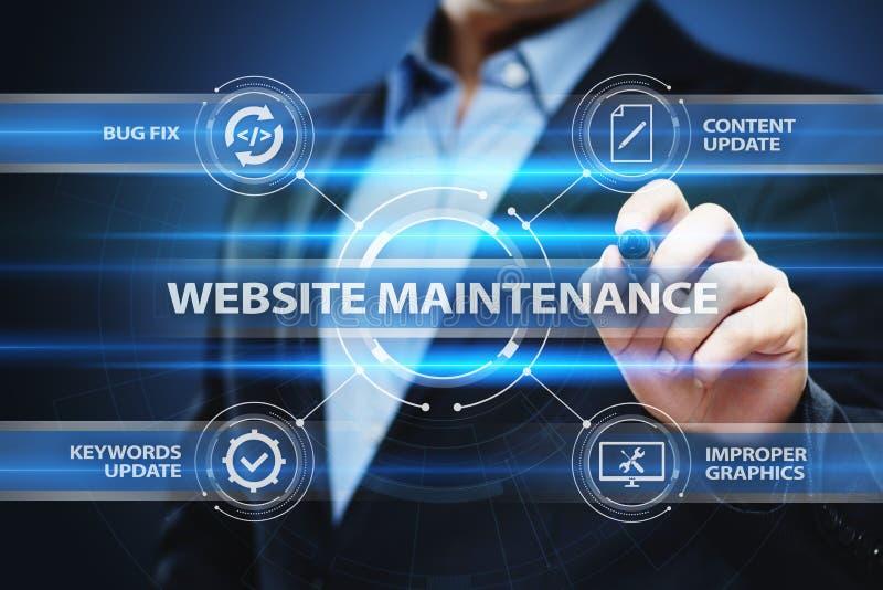 Concepto de la tecnología de Internet del negocio del mantenimiento del sitio web imagenes de archivo