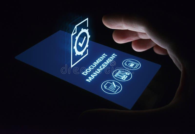Concepto de la tecnología de Internet del negocio del sistema de datos de gestión de documentos imagen de archivo