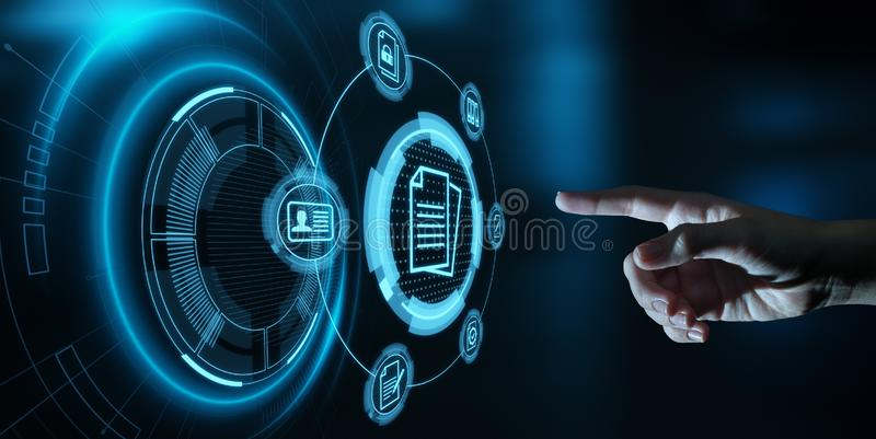 Concepto de la tecnología de Internet del negocio del sistema de datos de gestión de documentos imagen de archivo libre de regalías