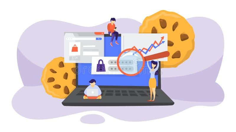 Concepto de la tecnología de las galletas de Internet Seguimiento de practicar surf de la página web stock de ilustración