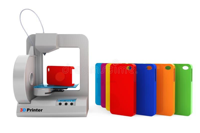 Concepto de la tecnología Multitud multicolora del hogar 3d de la impresión moderna de la impresora ilustración del vector