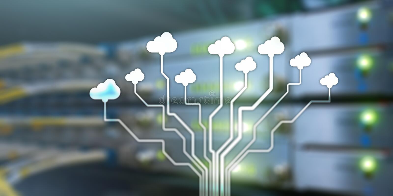 Concepto de la tecnología de ordenadores de la información de la nube Bandera conceptual en fondo del estante del servidor libre illustration