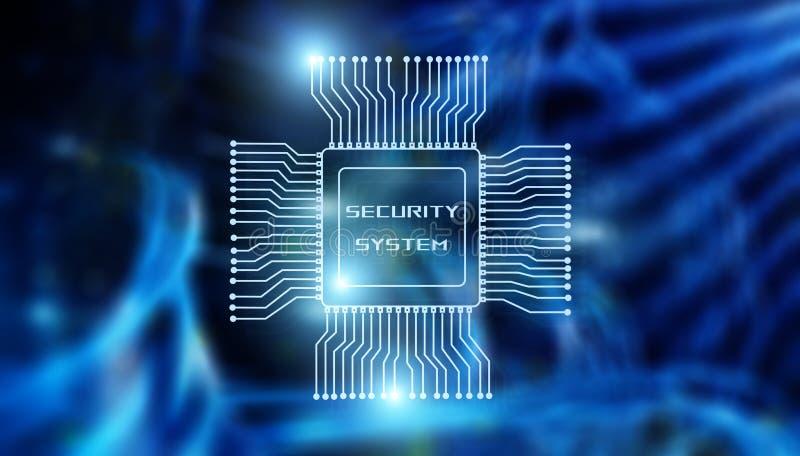 Concepto de la tecnolog?a del negocio del sistema de seguridad Inscripci?n en el fondo del cuarto del procesador y del servidor libre illustration
