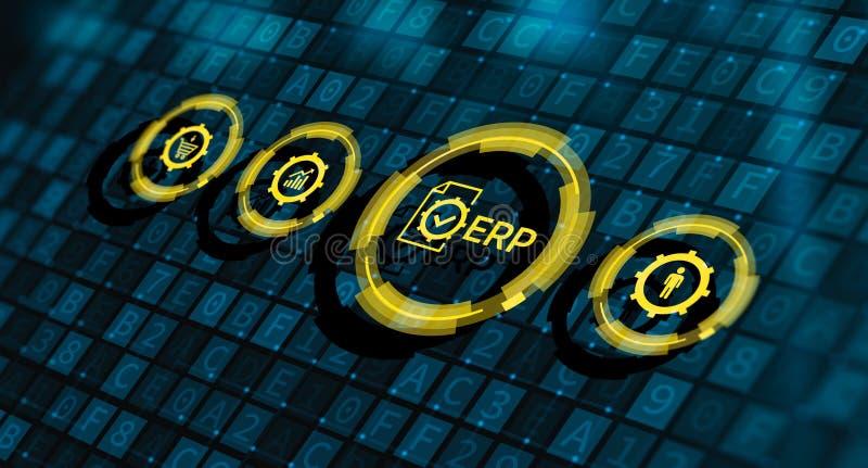 Concepto de la tecnolog?a de Internet del negocio de la gesti?n de Enterprise Resource Planning ERP Corporate Company imágenes de archivo libres de regalías
