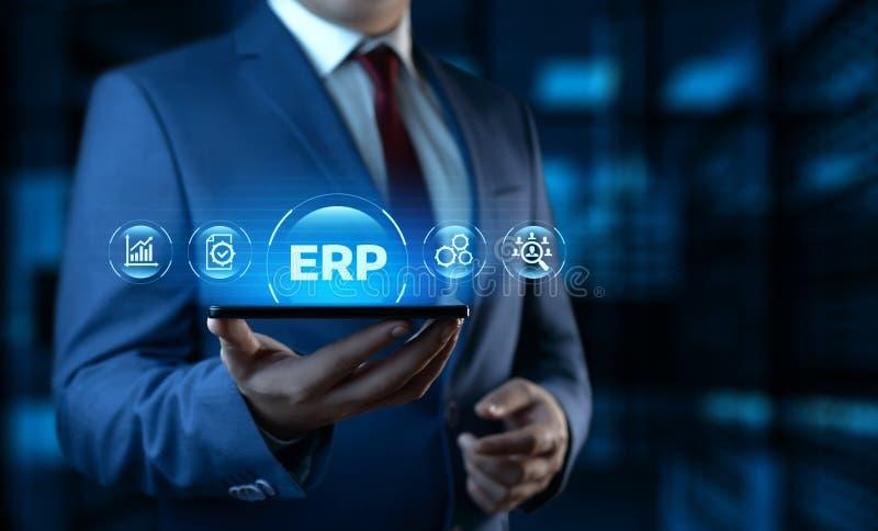 Concepto de la tecnolog?a de Internet del negocio de la gesti?n de Enterprise Resource Planning ERP Corporate Company foto de archivo libre de regalías