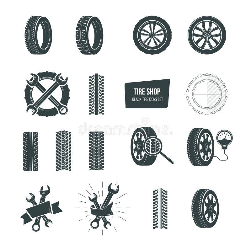 Concepto de la tienda del neumático Iconos negros del neumático fijados Servicio, diagnósticos, reemplazo ilustración del vector