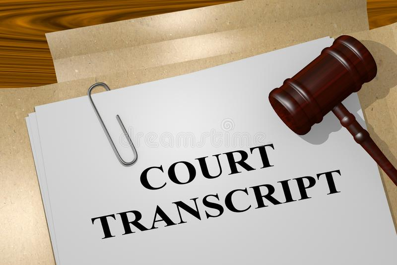Concepto de la transcripci?n de la corte libre illustration