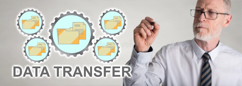 Concepto de la transferencia de datos de dibujo del hombre de negocios fotografía de archivo