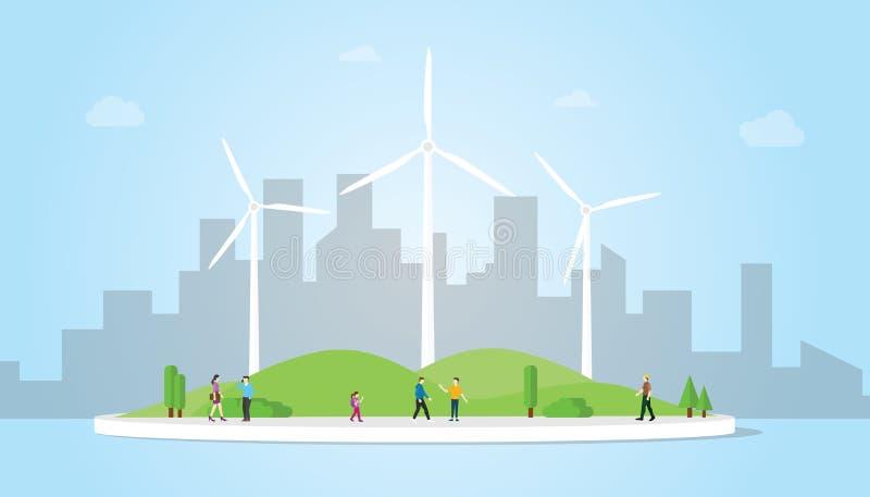 Concepto de la turbina de viento en la ciudad para el poder de la energía con estilo plano moderno con el fondo azul - vector stock de ilustración