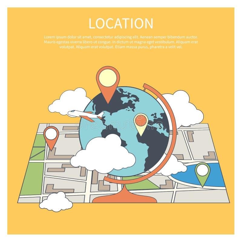 Concepto de la ubicación Mapa del mundo infographic ilustración del vector