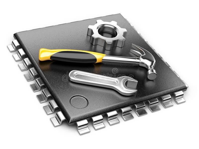 Concepto de la unidad central de proceso. CPU con las herramientas. stock de ilustración