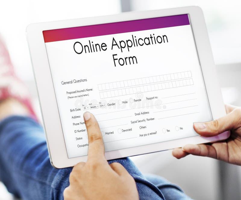Concepto de la universidad del formulario de inscripción en línea imagen de archivo
