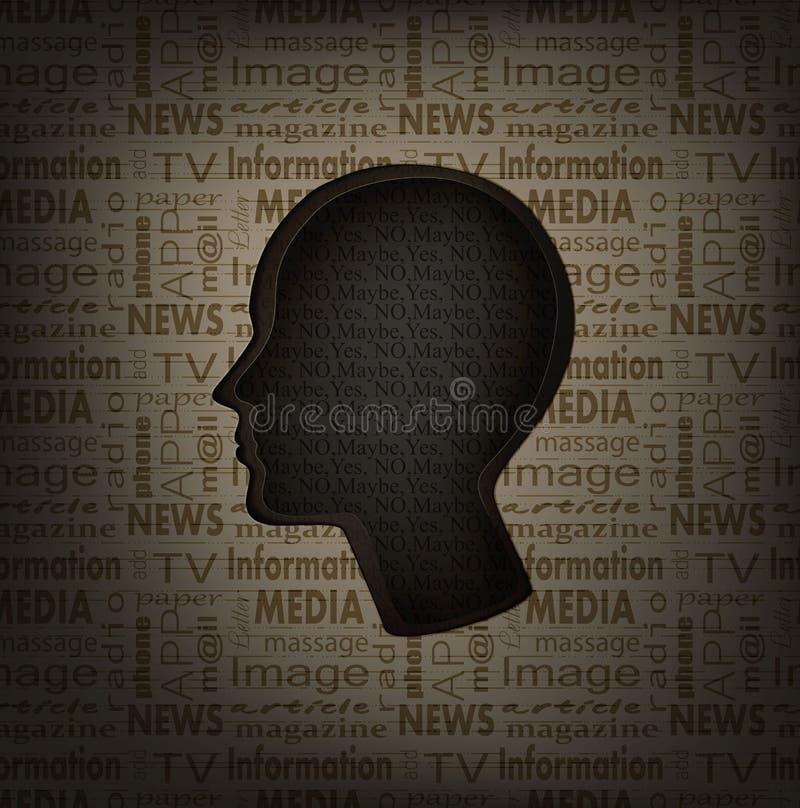Concepto de la vacilación, perfil del hombre con el interior del texto y el modelo del texto afuera, medios de comunicación y con stock de ilustración