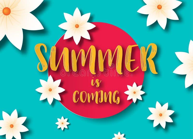 Concepto de la venta del verano Fondo del verano con las flores tropicales Vector de la plantilla ilustración del vector