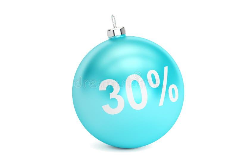 Concepto de la venta el 30% de la Navidad, representación 3D stock de ilustración