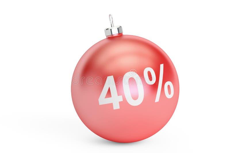Concepto de la venta el 40% de la Navidad, representación 3D libre illustration