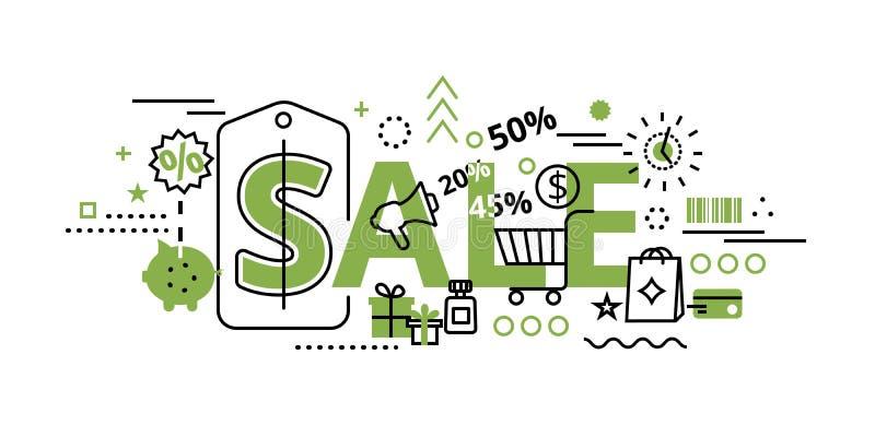 Concepto de la venta en el color del verdor, ejemplo del vector libre illustration
