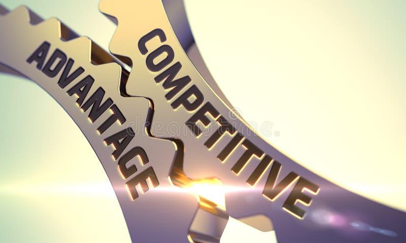 Concepto de la ventaja competitiva Engranajes metálicos de oro 3d fotos de archivo libres de regalías