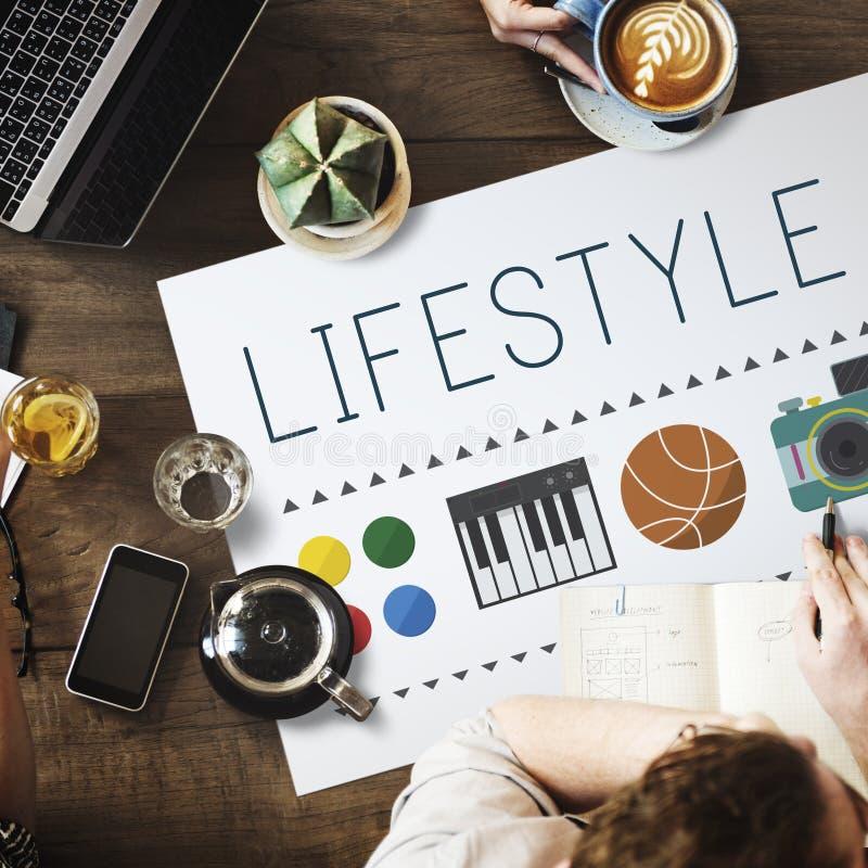 Concepto de la vida de los intereses de las aficiones de los hábitos de la cultura de la forma de vida fotos de archivo libres de regalías