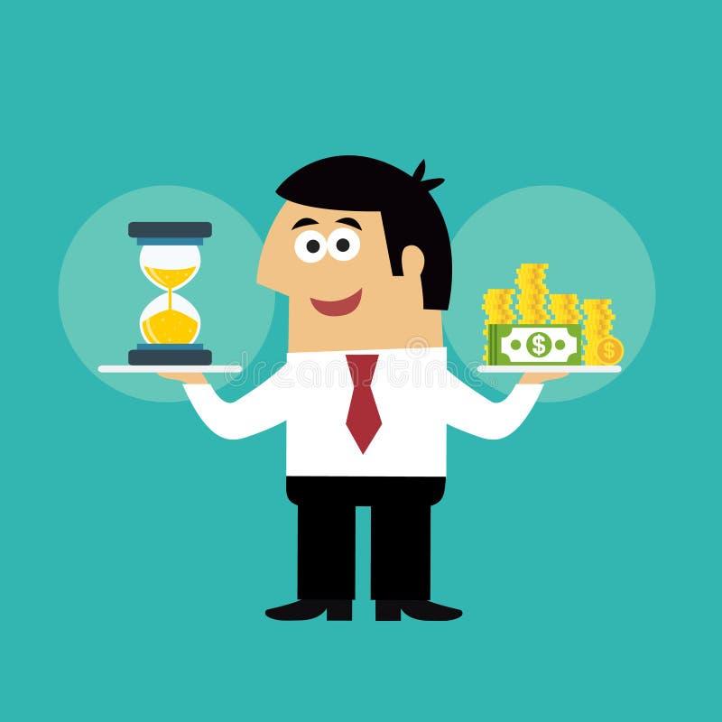 Concepto de la vida empresarial el tiempo es oro ilustración del vector