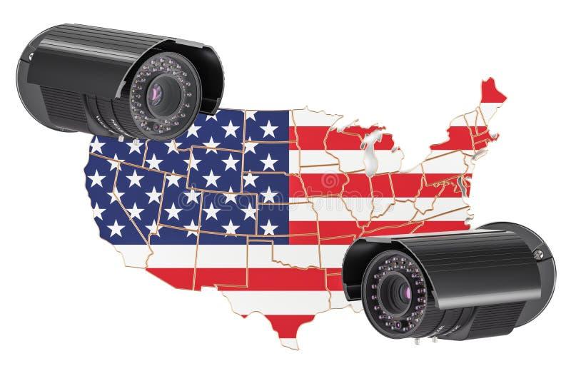 Concepto de la vigilancia y de sistema de seguridad en los E.E.U.U. representación 3d ilustración del vector