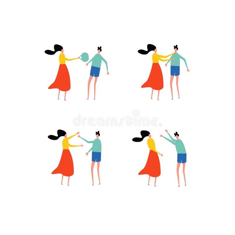 Concepto de la violencia en el hogar Situaciones del conflicto de la familia comportamiento inadecuado ilustración del vector