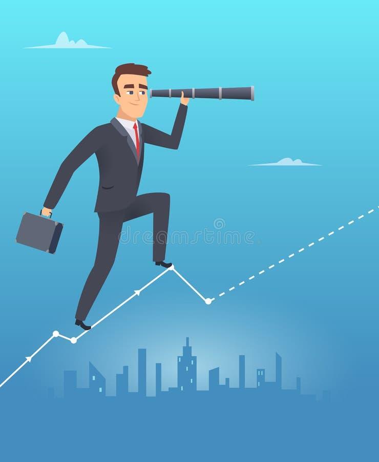 Concepto de la visión del asunto El hombre de negocios masculino se coloca en miradas de la carta con crecimiento corporativo del libre illustration