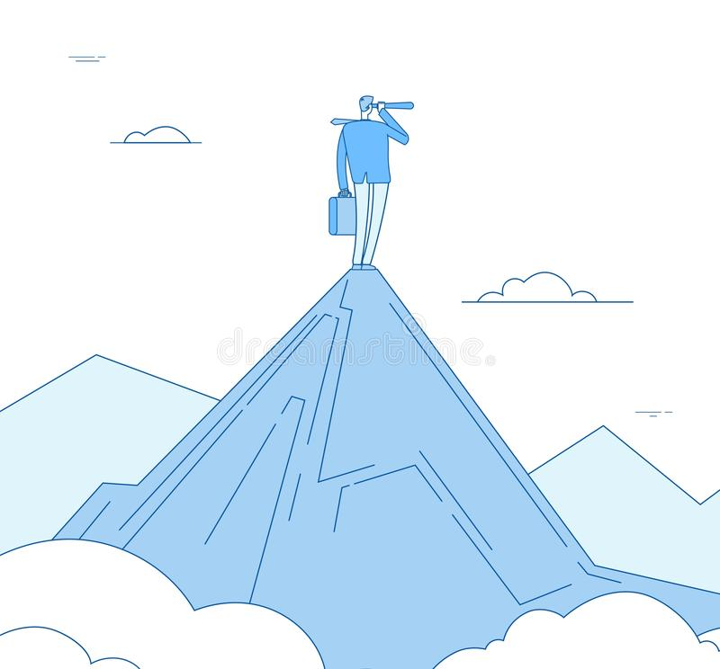 Concepto de la visión Situación del hombre de negocios en el pico de montaña que mira con el catalejo Negocio futuro acertado de  ilustración del vector