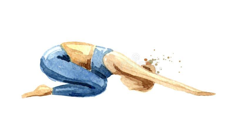 Concepto de la yoga Balasana Práctica de la mujer Ejemplo dibujado mano de la acuarela aislado en el fondo blanco stock de ilustración