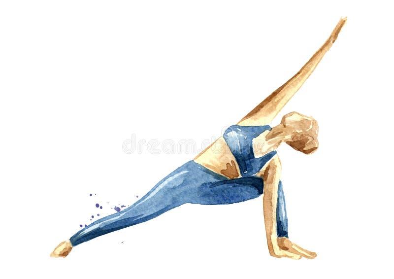 Concepto de la yoga Parsvakonasana de Utthita Práctica de la mujer Ejemplo dibujado mano de la acuarela aislado en el fondo blanc libre illustration